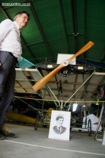 Winfried Halle and the replica of pioneer aviator, Richard Pearse's, aeroplane
