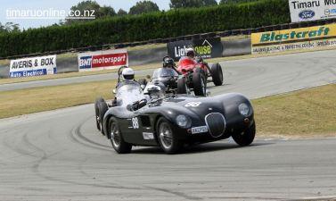David Owen (88) corners his 1953 Jaguar C Type Replica, 3485 cc