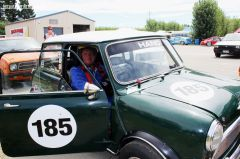 Steve Hand of Christchurch tries to keep cool prior to racing his 1964 Mini Cooper S, 1275 cc
