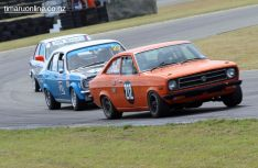 Brent Finlay (212), from Timaru, corners his 1971 Datsun 1200 Coupe