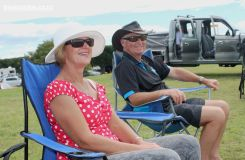 Sonia Clare and Jeff from Rangiora enjoy the sun