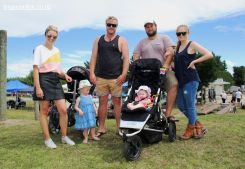 Lisa and Jason Hardie, with Skylar (2), and Mark and Illara Shaw with Indi (5 months)