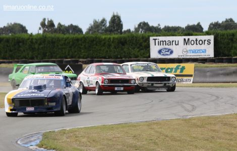 Michael Johnston, from Ashburton, in his Datsun 240Z Scarab leads a tight field of Classic Muscle Cars