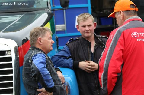 Outstanding young Super Truck driver Alex Little (centre) and his father Malcolm (left)