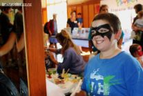 Tyler Humphrey (8) sees Batman in the mirror