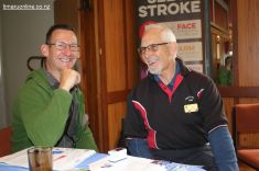 (L-R) Julian Waller, clinical nurse specialist for SCDHB Stroke Services chats with Barry Barnes (Timaru Host Lions)