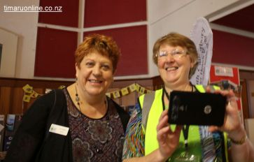 Caught taking a Selfie: Liz Nolan (Family Works) and Robyn Baldwin (Timaru Senior Citizens)