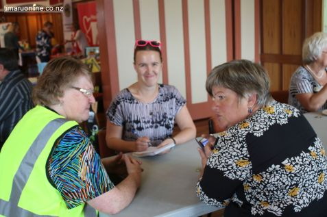 Expo organisers Robyn Baldwin and Christina Cullimore are interviewed by Timaru Herald reporter Tess Brunton (centre)
