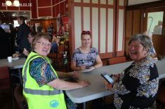 Expo organisers Robyn Baldwin (Senior Citizens) and Christina Cullimore (YMCA) are interviewed by Timaru Herald reporter Tess Brunton (centre)