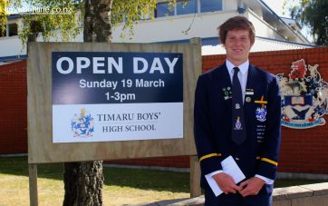 Cullen Grace (Yr 13) welcomes visitors to the Timaru Boys' High School Open Day