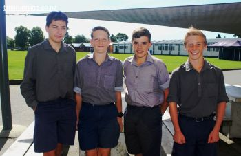 L-R: Matt Smith, Reon Mitchell, Mackenzie Annett and Josh O'Neill get ready to showcase their school