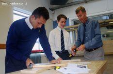 Mark Johnson (Wood Technology) helps out Taniela Wacokecoke & Keeley Jones