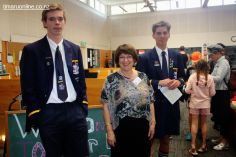 Ben Aitken, Ros Bennett (English) and Tim Currie, on hand to show visitors through the Library