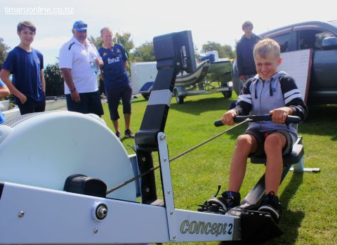Foster Harris tries out the rowing machine