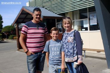 Wade Rollo, Caleb Rollo and Lara Hearn-Rollo enjoy the chance to look around the school.