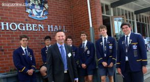 TBHS Rector, Nick McIvor, and senior students