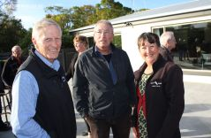 Murray Roberts (Trust Aoraki), Les Jones (Aorangi & Harding Memorials) and Irene Emond (Trust Aoraki) chat following the ceremony.