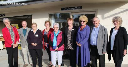 "Members of the Rotary Club of Timaru North, who funded and gave practical assistance to the project, in front of the ""Rotary Nook"""