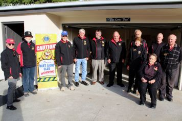 """Timaru Host Lions Club members in front of the """"Lions Den"""""""